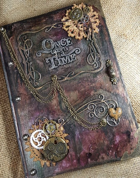 How To Make A Vintage Book Cover ~ Tutorial of the month steampunk book cover butterbeescraps